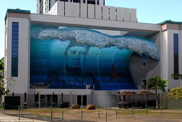 以假乱真的3D外墙壁画