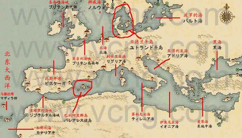 欧洲及地中海海域分布图