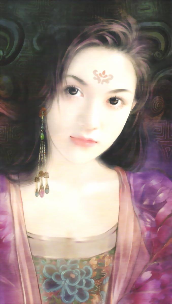 美女图片手绘素侧脸