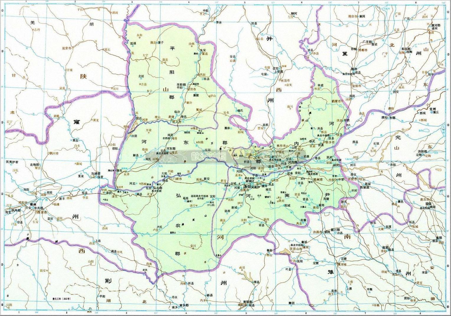 三国时代14个区域划分地图(超大图)