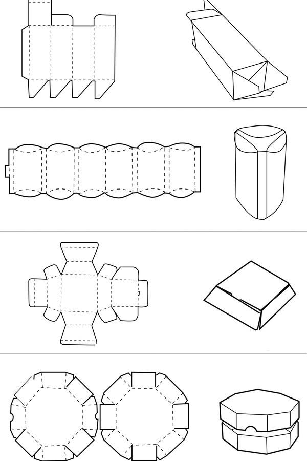 长方形纸盒平面图_长方形折纸盒