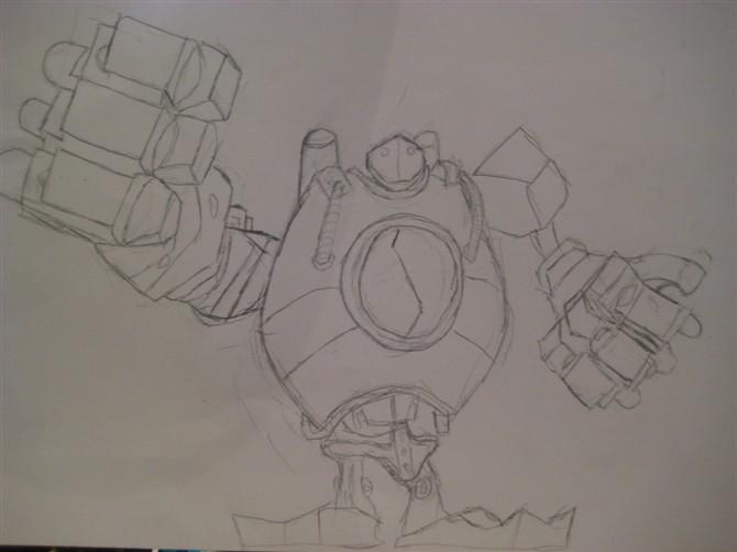 简单铅笔画,shen,卡牌,机器人