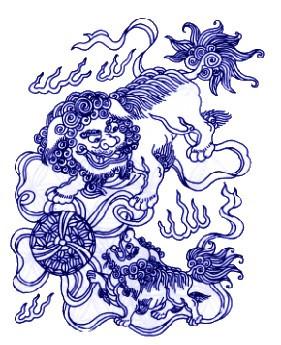古代狮子纹样简笔画