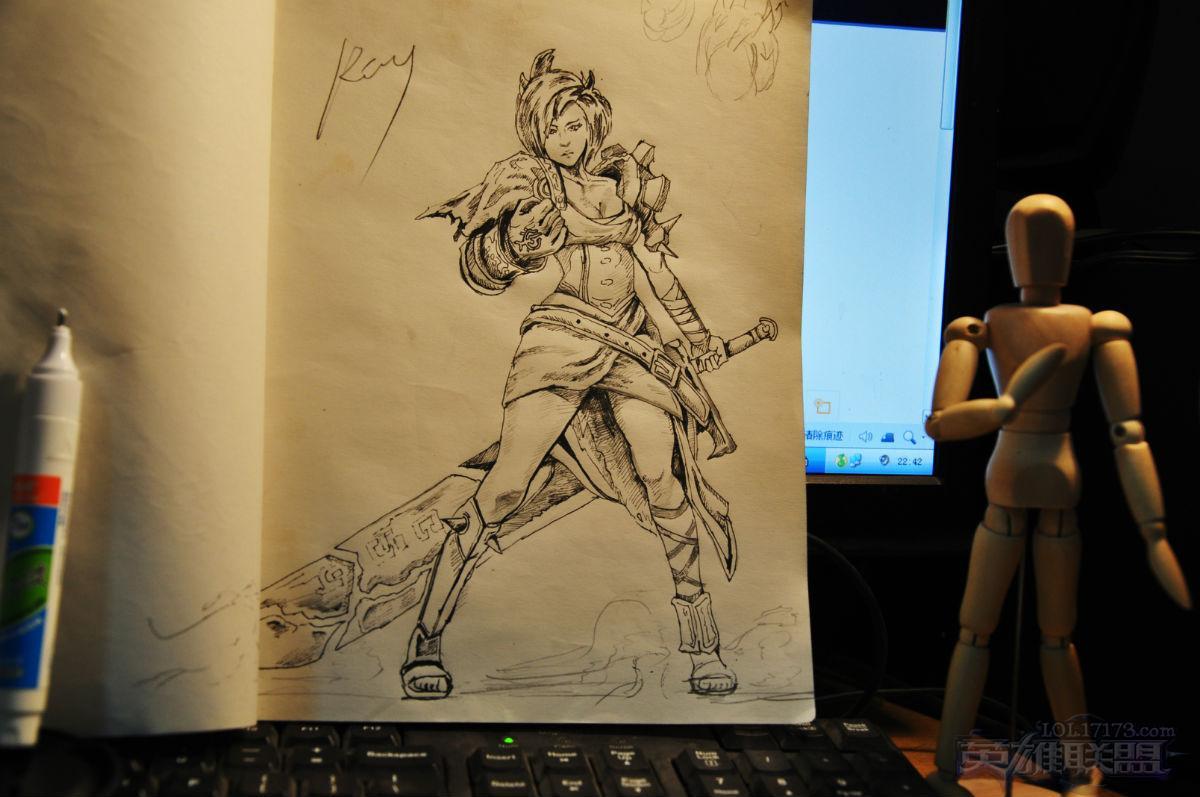 卡特琳娜黑白手绘图