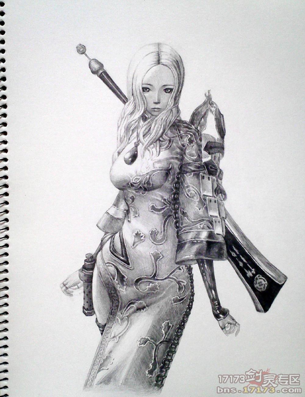 游戏人物铅笔画