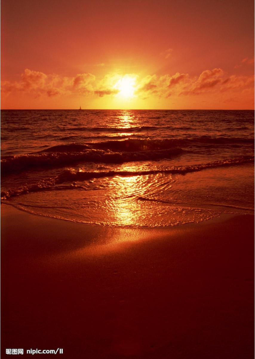 大海夕阳竖屏图片