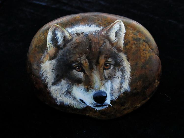 超有爱的动物石画
